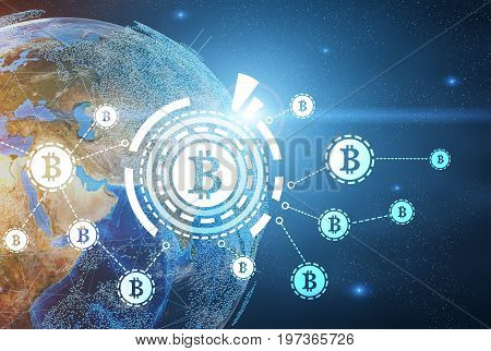 Large glowing bitcoin network hologram in the air. Open space background with the Earth. Toned image double exposure.