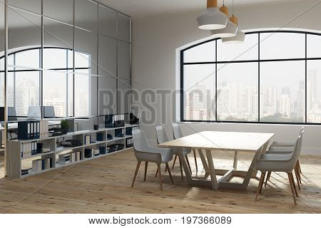 White conference room interior with a large window a whiteboard a long table surrounded by white chairs and shelves standing along the walls. Corner. 3d rendering mock up