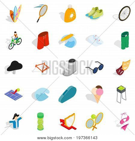 Recreation park icons set. Isometric set of 25 recreation park vector icons for web isolated on white background
