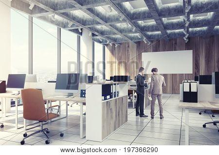 Light Wooden Open Office, Computers, Men, Side