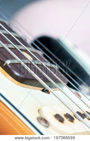 Closeup Of Vintage Electric Guitar Pickup