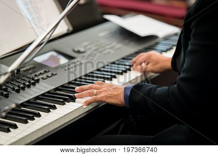 Pianist Playing Electric Piano
