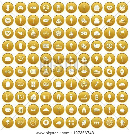 100 calories icons set in gold circle isolated on white vectr illustration