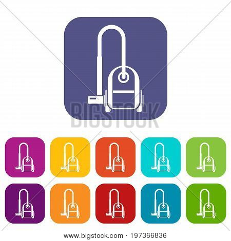 Vacuum cleaner icons set vector illustration in flat style in colors red, blue, green, and other