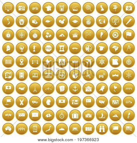 100 cartography icons set in gold circle isolated on white vectr illustration