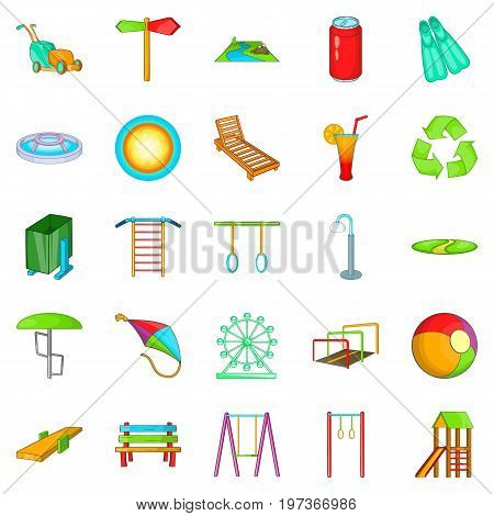 Amusement icons set. Cartoon set of 25 amusement icons for web isolated on white background