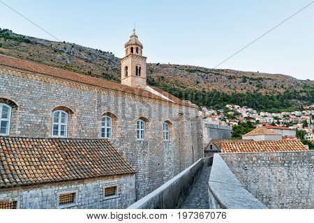 Dominican Monastery Belfry In Old City With In Dubrovnik