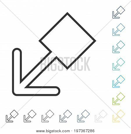 Pull Left Down icon. Vector illustration style is flat iconic symbol in some color versions.