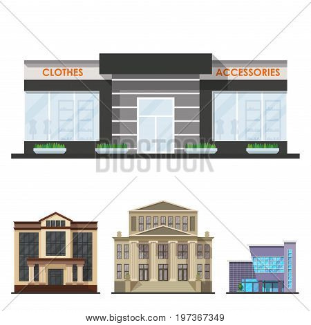 City buildings modern tower office architecture house business apartment home facade vector illustration. Modern cityscape construction exterior urban downtown design.