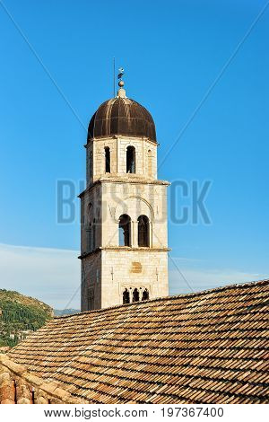 Bell Tower Of Franciscan Monastery In Dubrovnik