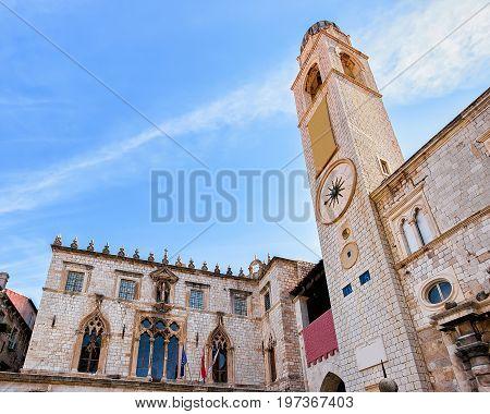 Belfry On Stradun Street In Old City Dubrovnik