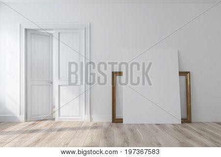 Empty White Room With An Open Door, Poster
