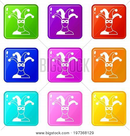 Jester icons of 9 color set isolated vector illustration