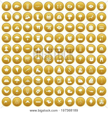 100 clouds icons set in gold circle isolated on white vectr illustration