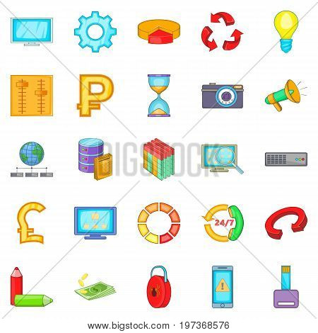 Online business icons set. Cartoon set of 25 online business icons for web isolated on white background