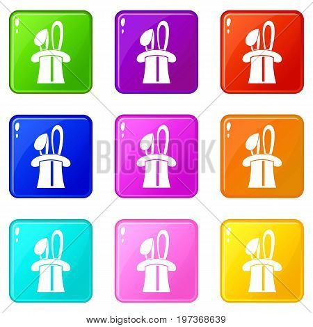 Rabbit appearing from a top magic hat icons of 9 color set isolated vector illustration