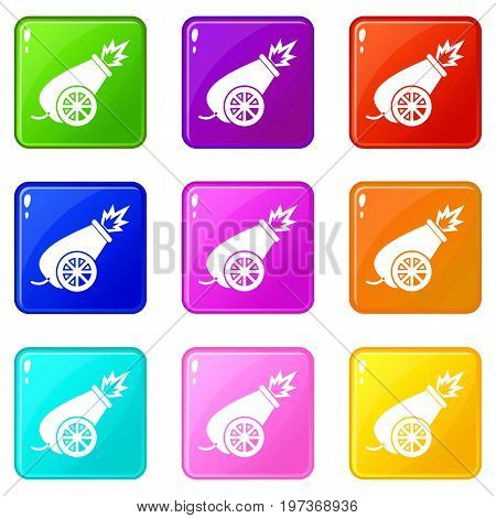 Circus cannon icons of 9 color set isolated vector illustration