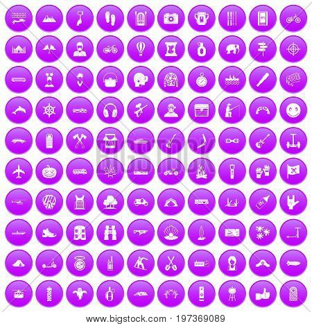 100 adventure icons set in purple circle isolated on white vector illustration