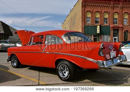 CASSELTON, NORTH DAKOTA, July 27, 2017: The annual Casselton Car Show which occurs the last Thursday of July features classic vehicles such as the 1956 two door Chevy.