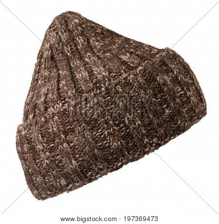Hat Isolated On White Background .knitted Hat . Brown Hat