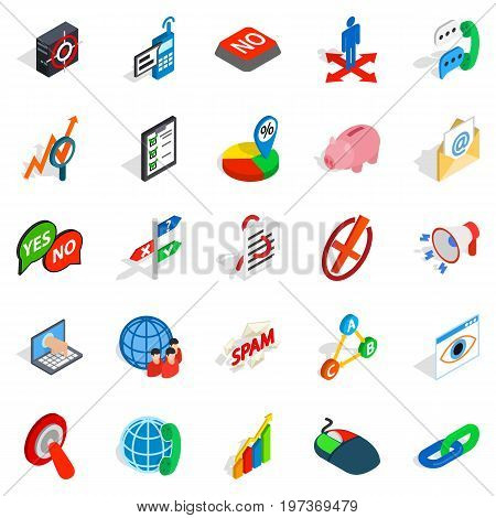 Help business icons set. Isometric set of 25 help business vector icons for web isolated on white background