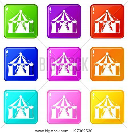 Circus tent icons of 9 color set isolated vector illustration