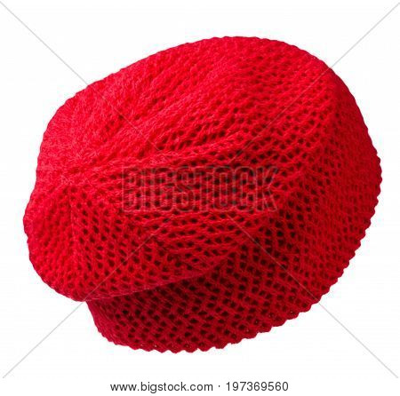 Women's Hat . Knitted Hat Isolated On White Background .red Hat