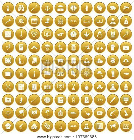 100 crime investigation icons set in gold circle isolated on white vector illustration