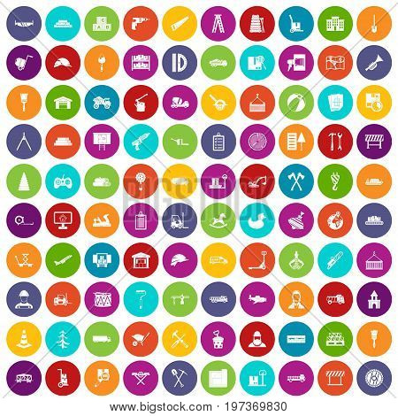 100 lorry icons set in different colors circle isolated vector illustration