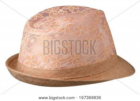 Hat With A Brim .hat Isolated On White Background . Beige Hat