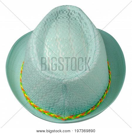 Hat With A Brim .hat Isolated On White Background .tirquoise Hat