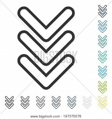Triple Pointer Down icon. Vector illustration style is flat iconic symbol in some color versions.
