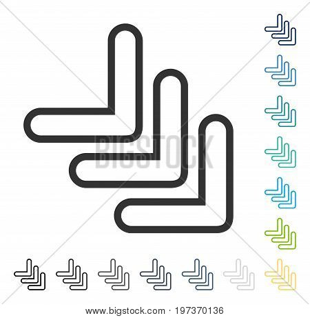 Triple Pointer Right Down icon. Vector illustration style is flat iconic symbol in some color versions.