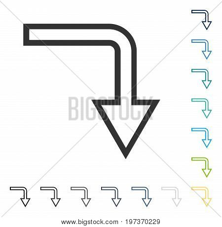 Turn Down icon. Vector illustration style is flat iconic symbol in some color versions.