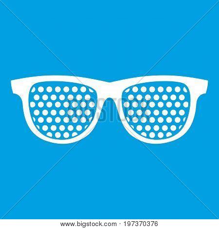 Black pinhole glasses icon white isolated on blue background vector illustration
