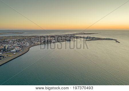 Aerial image of Reykjavik during sunset
