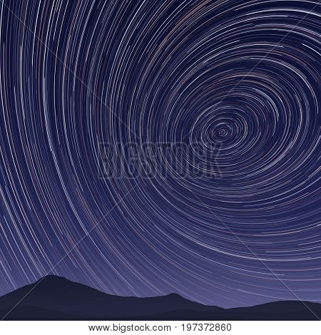 2d illustration of a star trails night