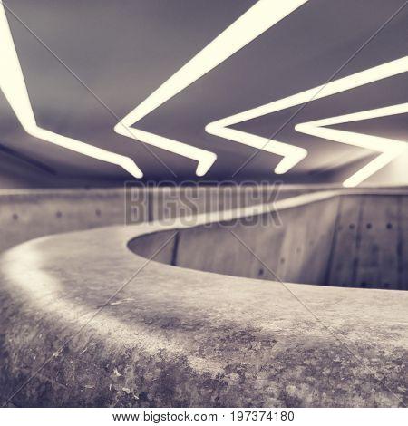 Seoul - July 2017: Futuristic interior of Dongdaemun Design Plaza.