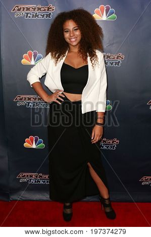 NEW YORK-AUG 26: Singer Samantha Johnson attends the 'America's Got Talent' Season 10 Results Show at Radio City Music Hall on August 26, 2015 in New York City.