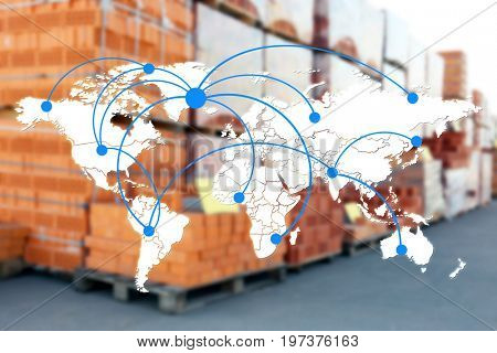 World map with logistic network and bricks for wholesale distribution on background