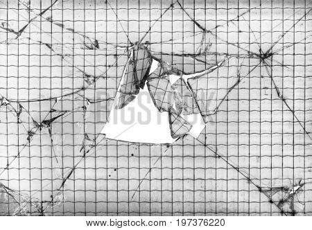 Reinforced Broken Glass Window Cutout Background