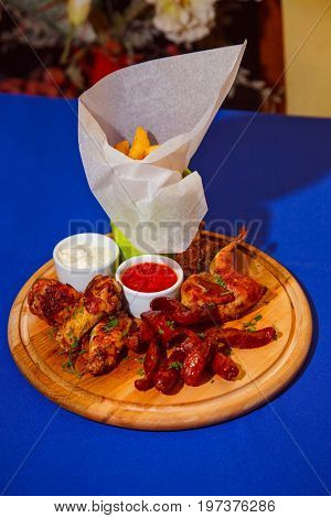 Beautiful, appetizing dish of European cuisine assorted grilled. close-up
