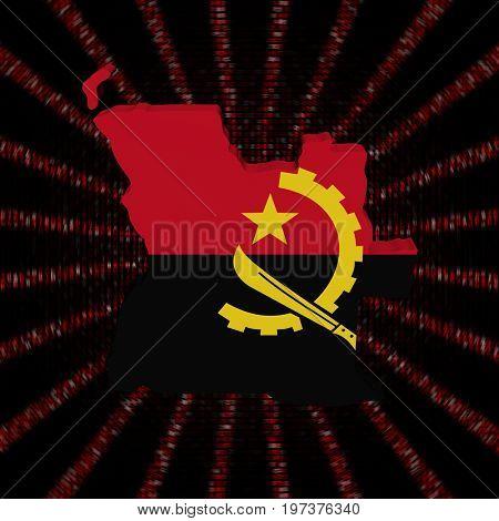 Angola map flag on red hex code burst 3d illustration