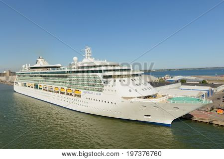 Helsinki, Finland-July 10, 2017: Cruise ship Serenade of the Seas at dock in Helsinki harbor during the summer