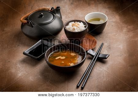 miso soupe with rice and matcha tea