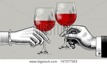 Hands of man and woman clink glasses with red wine. Vintage engraving stylized drawing