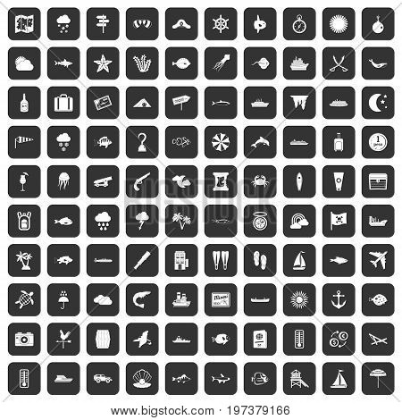 100 marine environment icons set in black color isolated vector illustration