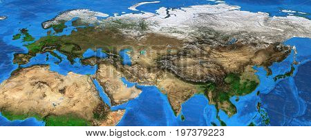 Map of Eurasia. Detailed satellite view of the Earth and its landforms focused on Europe and Asia. 3D illustration. Elements of this image furnished by NASA