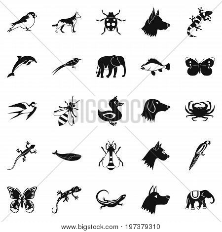Animal kingdom icons set. Simple set of 25 animal kingdom icons for web isolated on white background