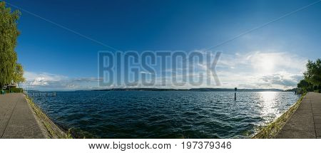 the lake of constance near Überlingen - panorama of the water and sky